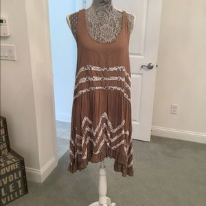 Free people, long flowy tank with lace trim